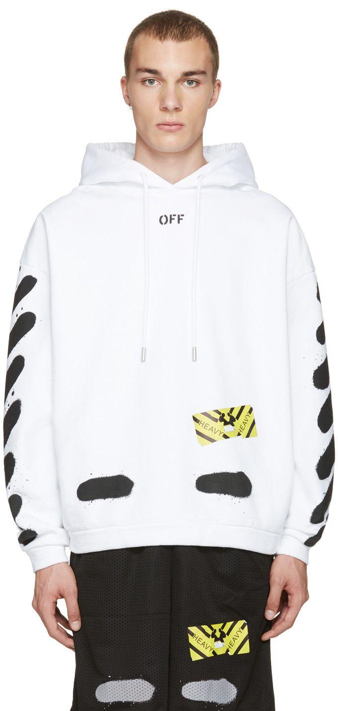 Off White White Diagonal Spray Hoodie Off White Clothing Hoodies Cotton Sweatshirts [ 1428 x 680 Pixel ]