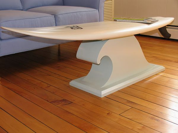 Surfboard coffee table diy pinteres for Surfboard coffee table