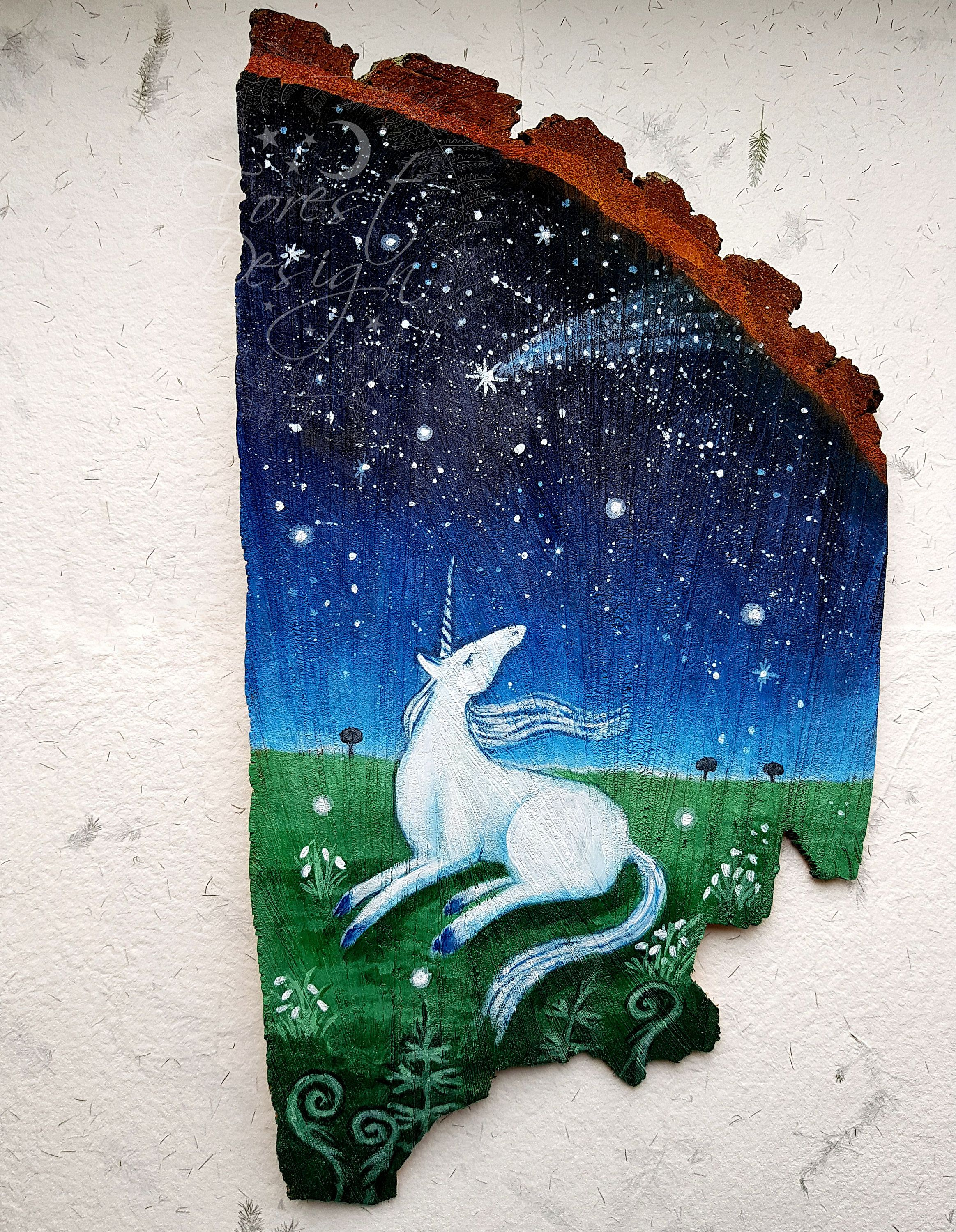 Original painting unicornwood slice artoriginal artpainting on