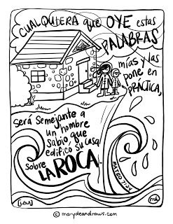 A Life On The Rock Matthew 7 24 Bible Coloring Page In English And Spanish Dibujos De Bible Verse Coloring Page Bible Verse Coloring Bible Coloring Pages