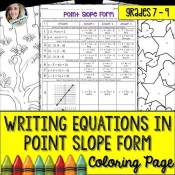 Writing Equations In Point Slope Form Coloring Worksheet Math