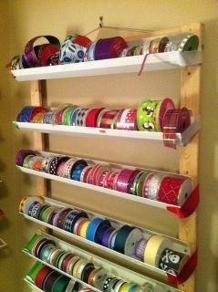 Ribbon Holder Made Out Of Rain Gutters Craft Room Tables Ribbon Storage Craft Room Organization