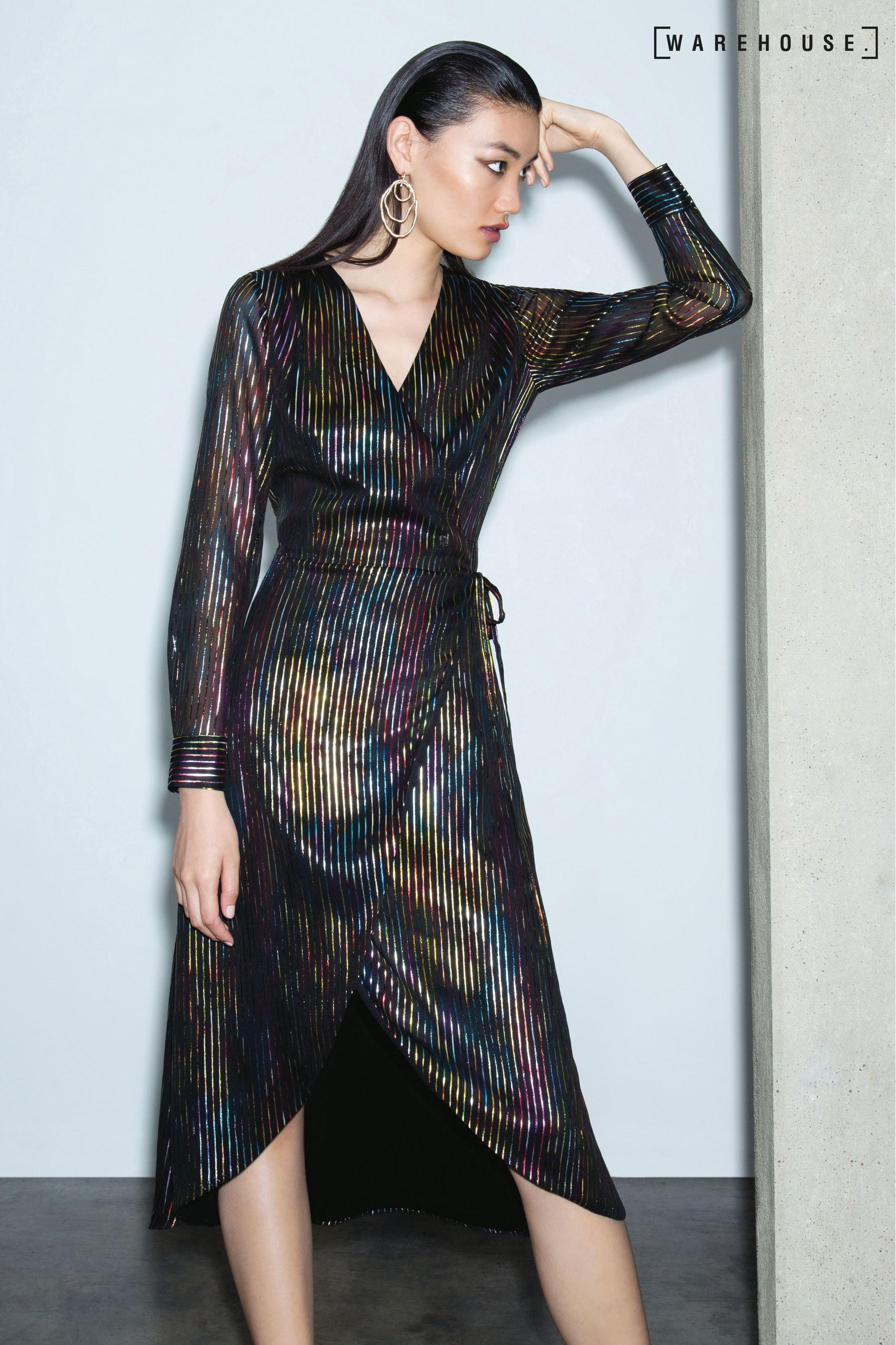 bcb5b27c18 Womens Warehouse Black Rainbow Foil Stripe Wrap Midi Dress - Black ...