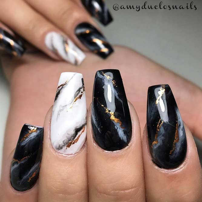 49 Amazing Prom Nails Designs - Queen's TOP 2021 | Marble acrylic nails, Prom nail designs, Gold nail designs