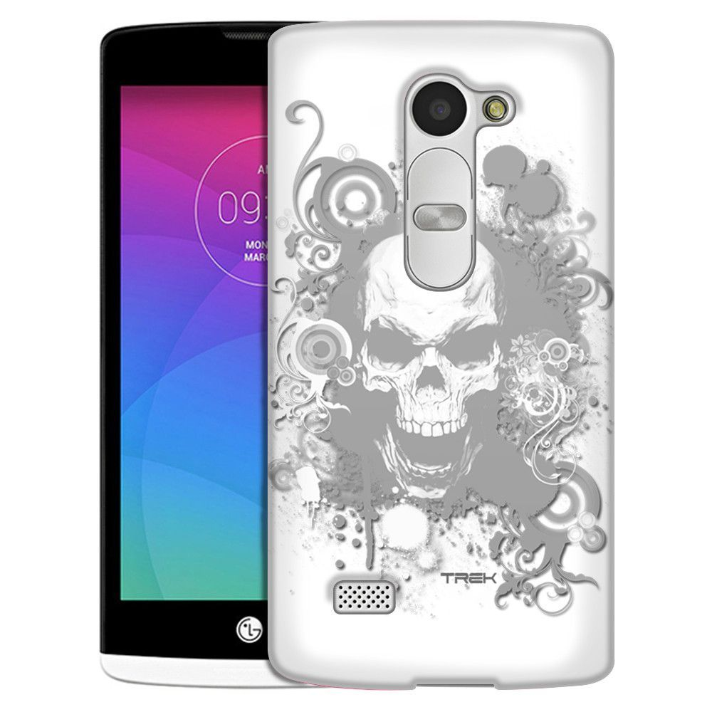 LG Leon White Skull on White Slim Case