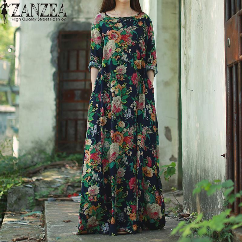 ab0f9d9a73 #Malaysia Baru ZANZEA Women Long Sleeve Batwing Dolman Vintage Floral Print  Chinese Style Cotton Party Long Maxi Dress Baggy Kaftan Vestido Plus Size  Navy # ...
