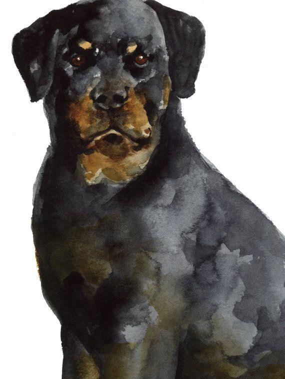 Gift Pet Animal Home Decor Wall Art ART PRINT Rottweiler illustration Dog