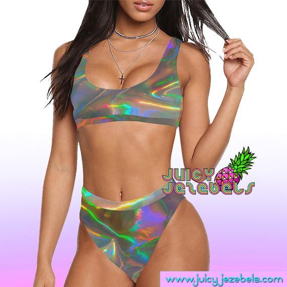 32261b80c5eb2 REFLECTIVE RAINBOW High Waisted Bikini Ibiza Style Rave Outfit Rave Bra  Bikini Top Sexy Bikini Rave