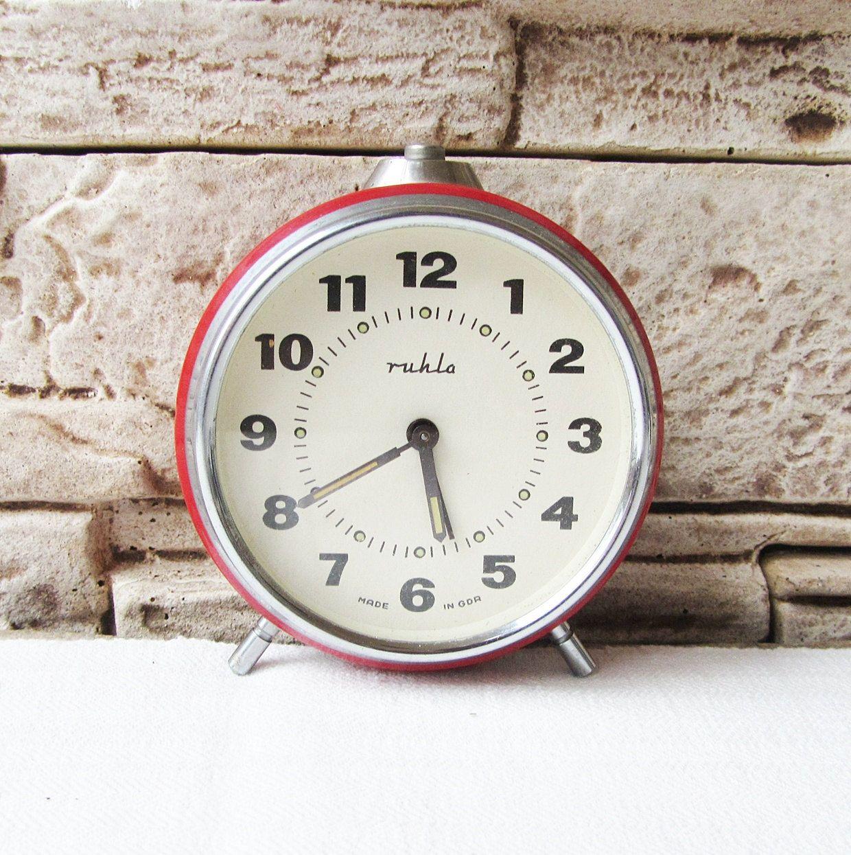 German vintage alarm clock Ruhla,Mechanical clock,Working ...