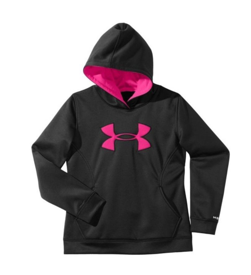 fc0eeb12 Under Armour Girl's Hoodie Black Hot Pink Logo Youth Large UA Storm ...