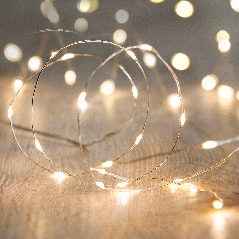 20er LED Draht Micro Lichterkette perlweiß Batteriebetrieb ...