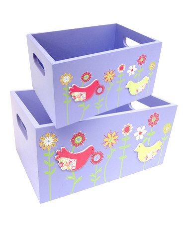 Take a look at this Purple Bird Storage Box Set by Concepts on #zulily today!