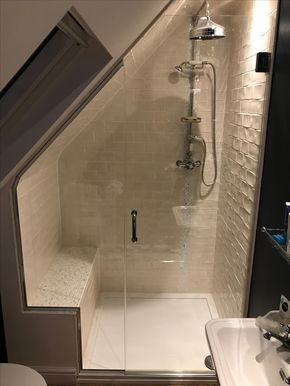 Frameless Hinged Loft Shower Enclosure Notched Over Seat Installed Near Newbury Small Attic Bathroom Attic Shower Shower Enclosure