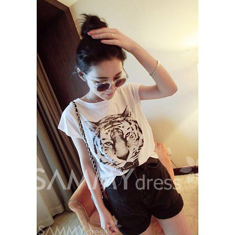 $5.81 Relaxed Tiger Head Print Short Sleeve T-Shirt For Women | Sammydress buymebrunch