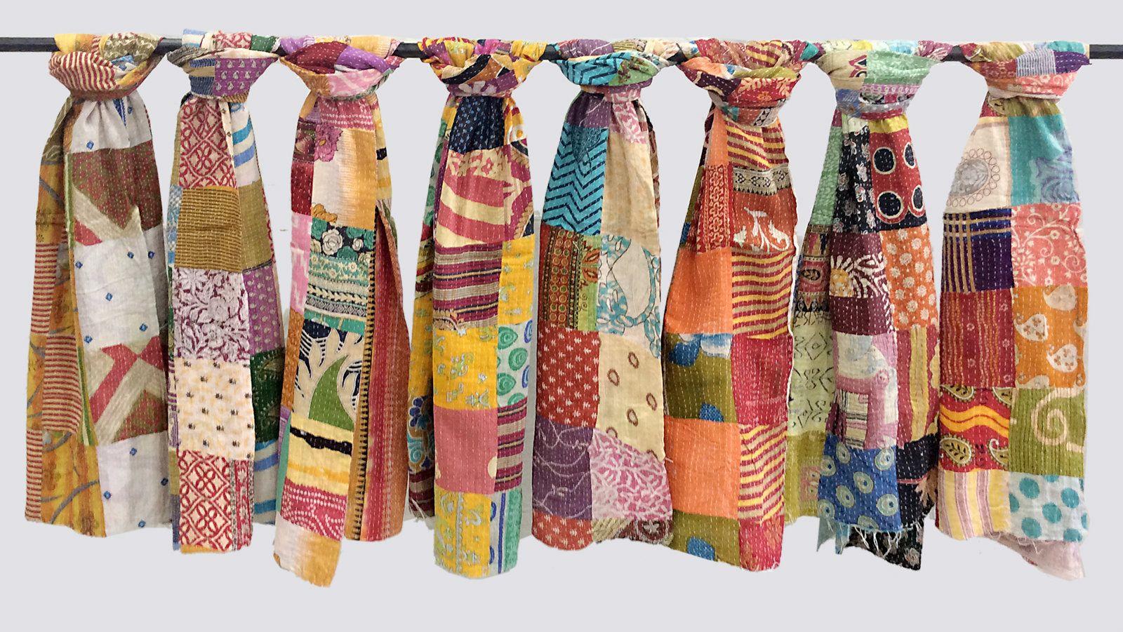 5 Pc Lot Vintage Kantha Handmade Scarf Fashion Bandana Assorted Cotton Stole