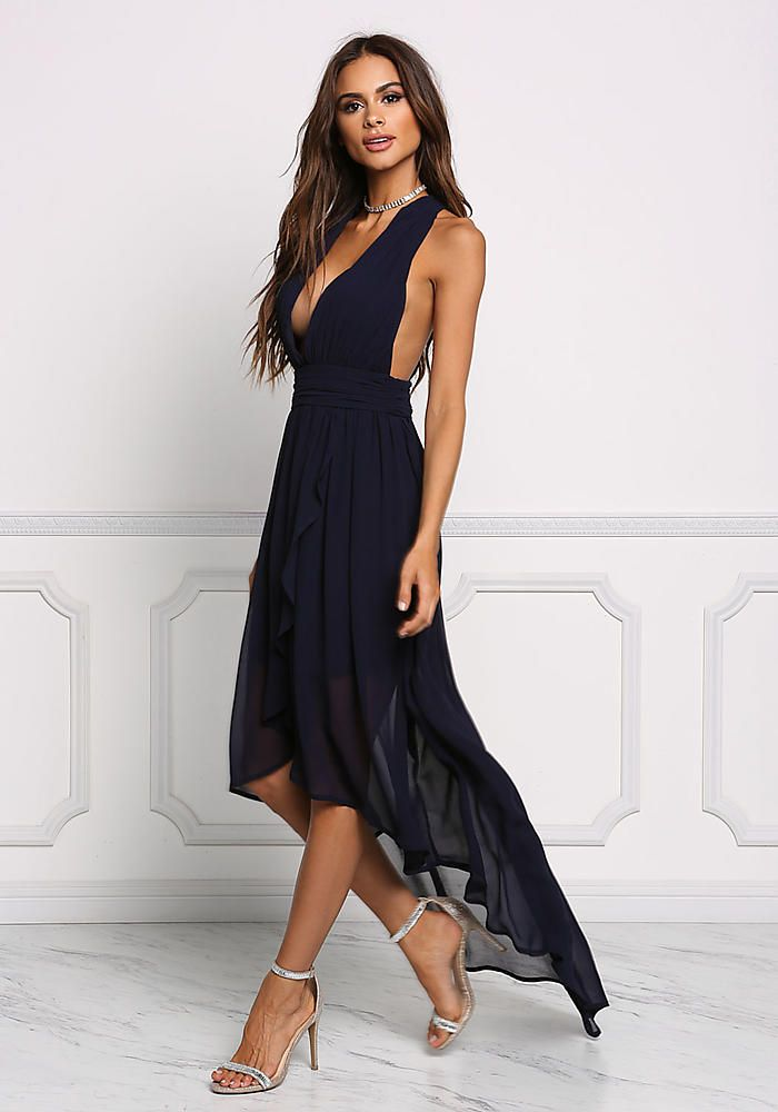 329a6cf4 Navy Chiffon Plunge Hi-Lo Dress - Midi and Maxi - Dresses | sofia ...
