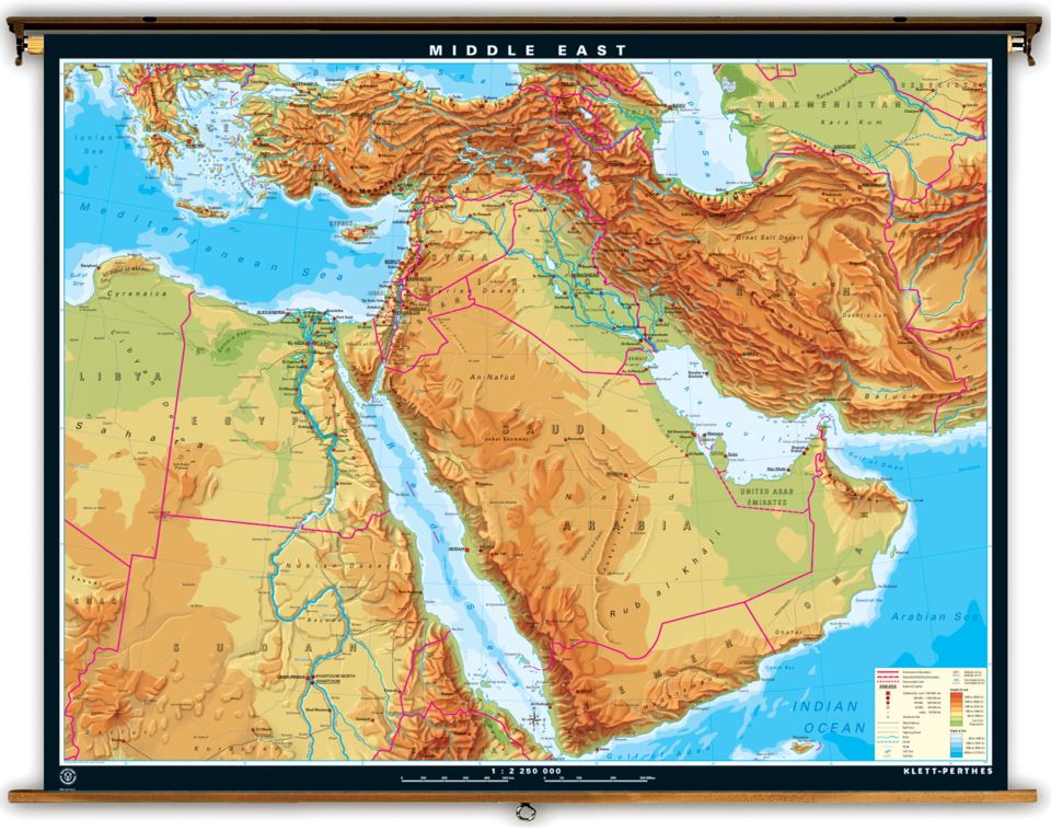 This is a map of physical features in the Middle East. It shows ...