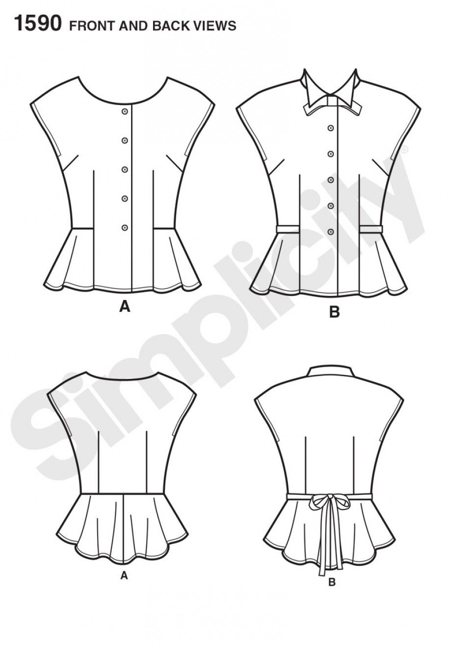 Simplicity 1590 Misses\' Retro Blouse Sewing Pattern | Sewing | Pinterest