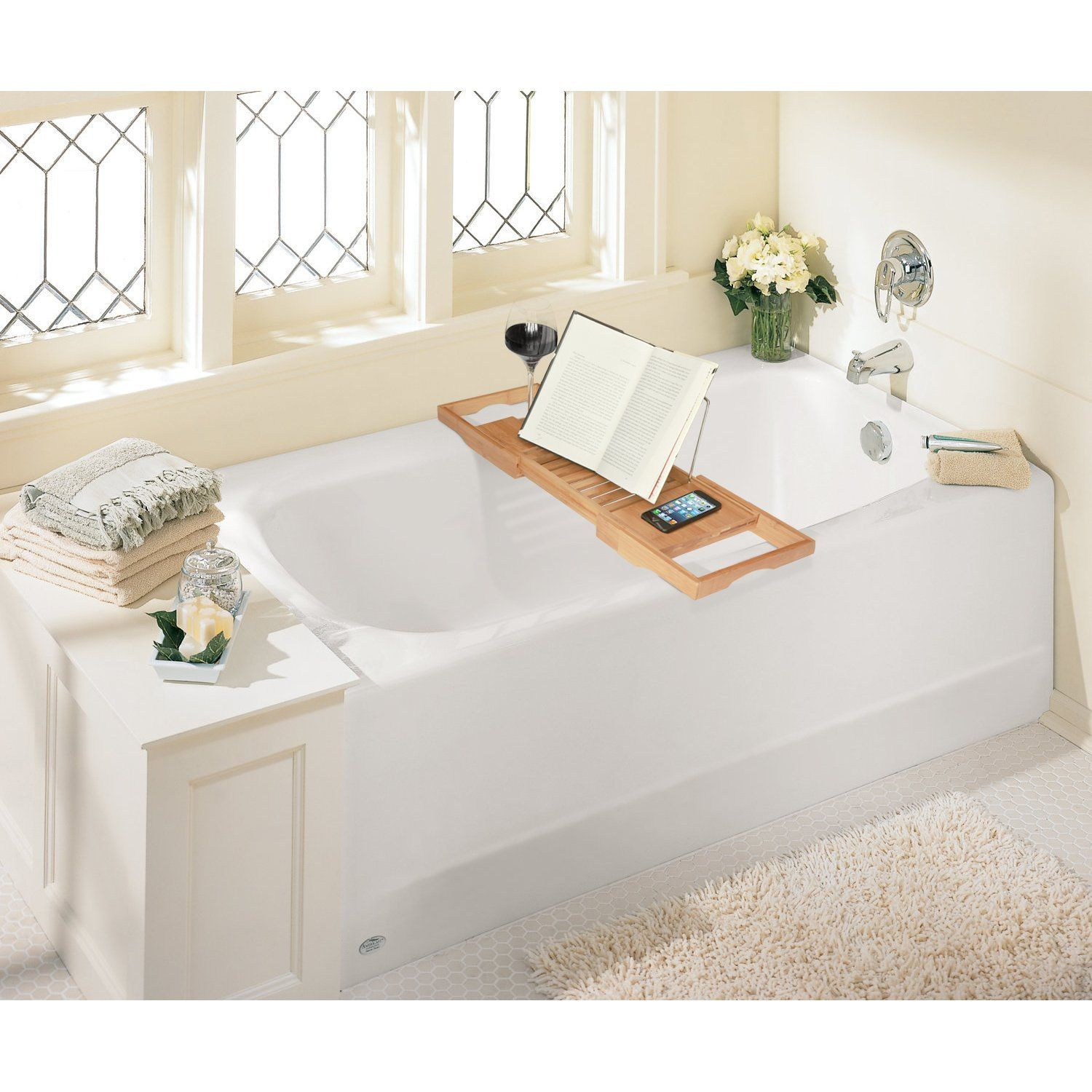 Expandable Deluxe Bamboo Bathtub Caddy with a Bar | Dad | Pinterest ...