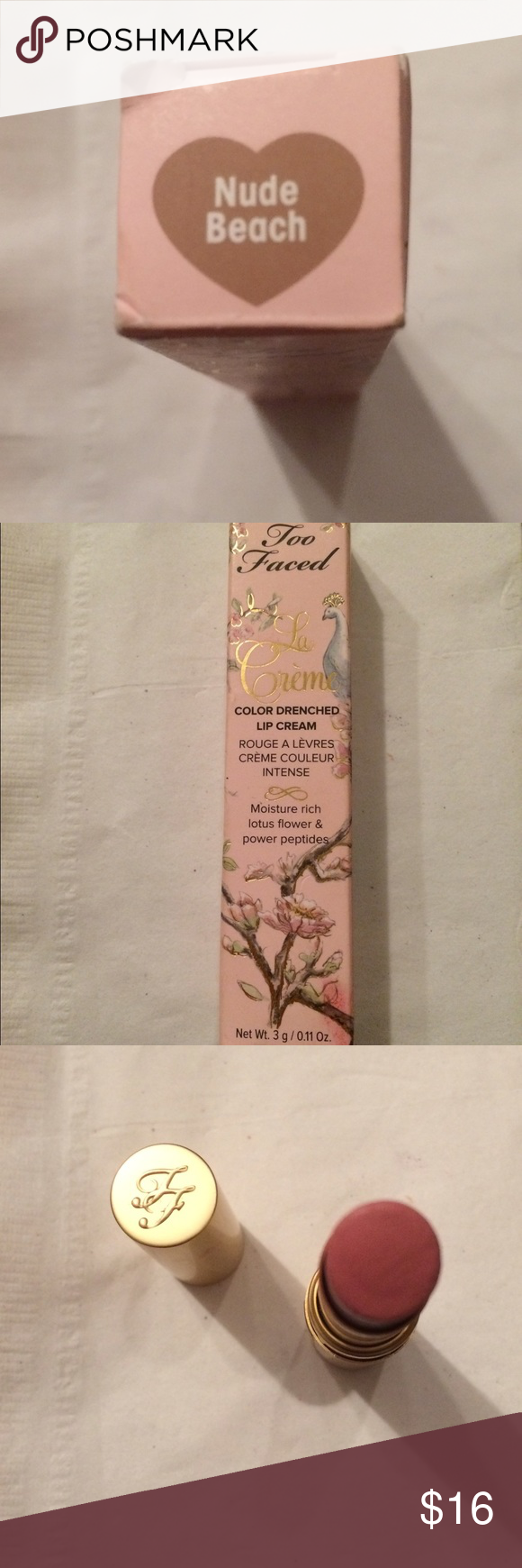 Too Faced Lipstick Too Faced la creme color drenched lipstick in Nude Beach Too Faced Makeup Lipstick