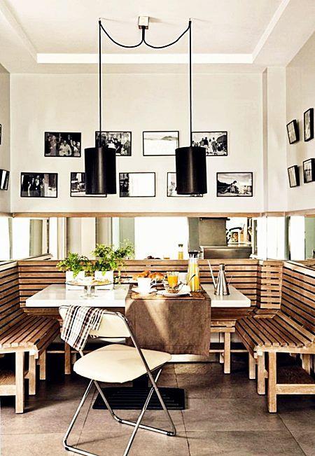 Área de jantar em ambientes pequenos Pequenos Ambientes Cozinha e sala de jantar, Jantar e