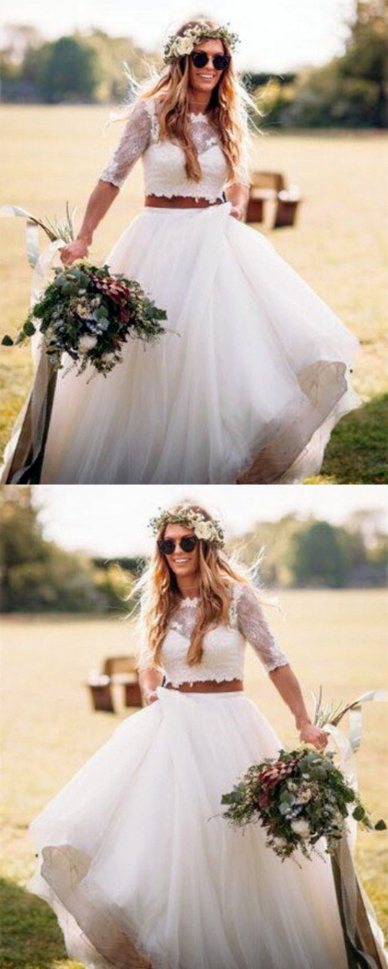 Boho lace crop top tulle two piece wedding dresses lace crop