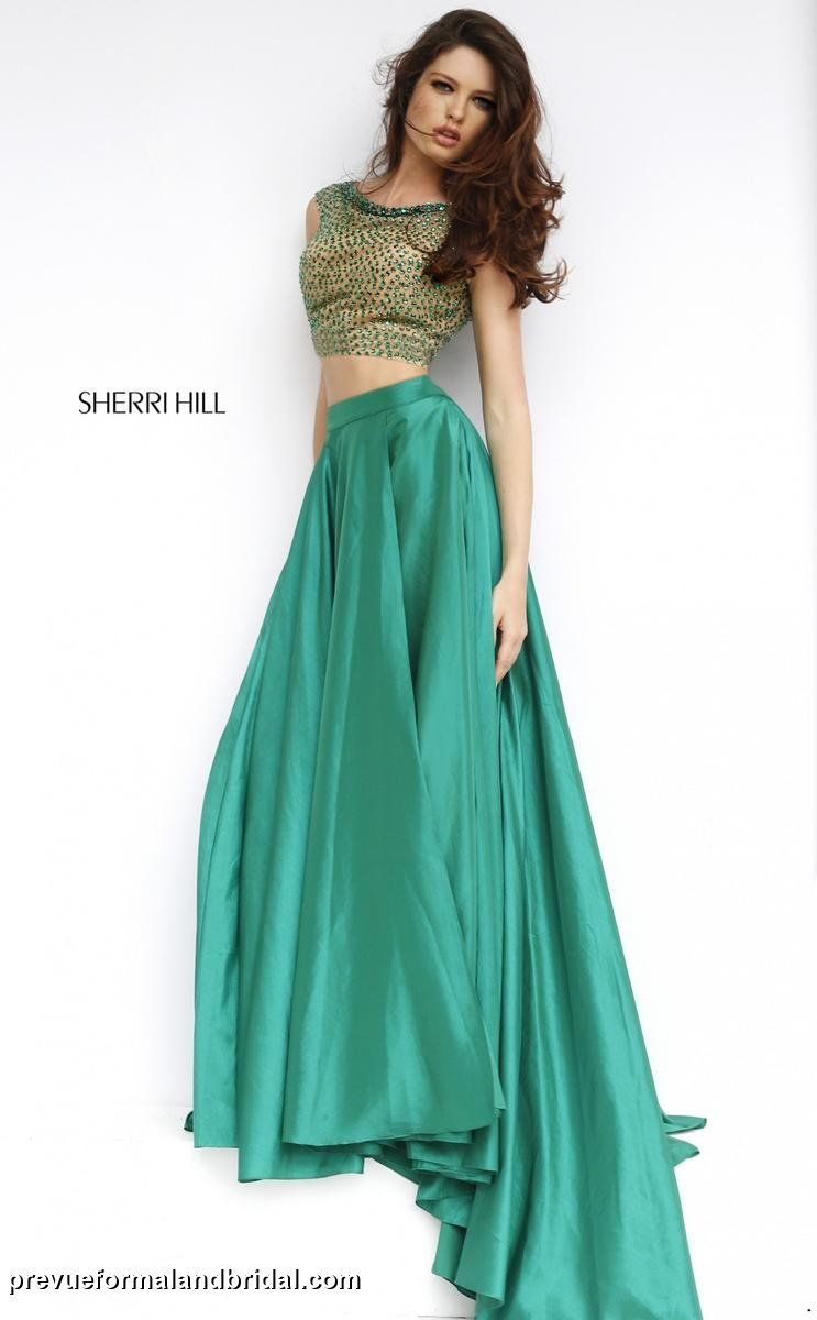 Two Piece Prom Dress Emerald Green Gown With Beading On Bodice