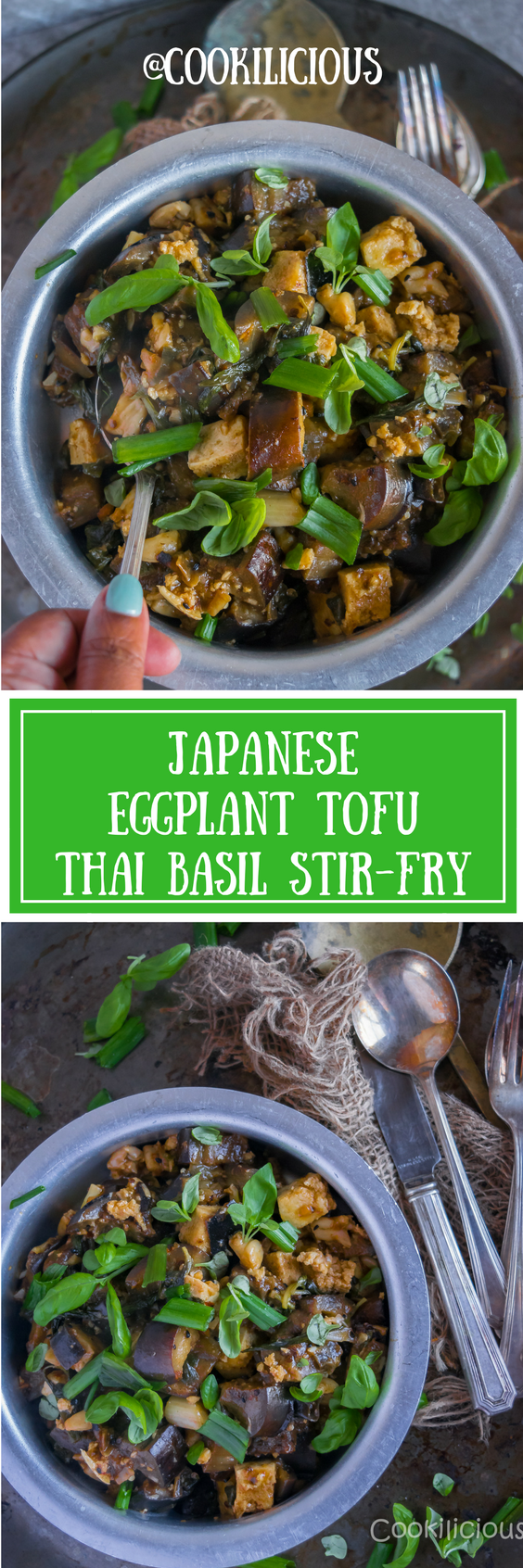 Japanese Eggplant Tofu Thai Basil Stir-fry is a comforting & flavorful dish that can be made in just few minutes! Thai basil, tofu & Japanese eggplant make a great combination making it an ideal meal for vegetarians/vegans. Cooked street style, this stir-fry is seasoned with sauces & hard to resist! via @cookiliciousveg