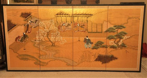 Antique Japanese Silk Four Panel Wall Screen - Circa 1940s - Japanese Art - Japanese Decor - Japanese Antiques