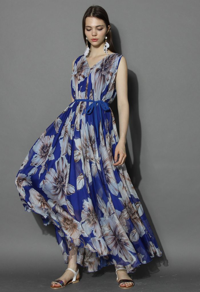 Marvelous Floral Chiffon Maxi Dress in Blue - Floral - Dress - Retro, Indie and Unique Fashion