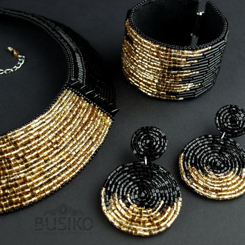 Black & gold collar necklace. Bib statement neckla