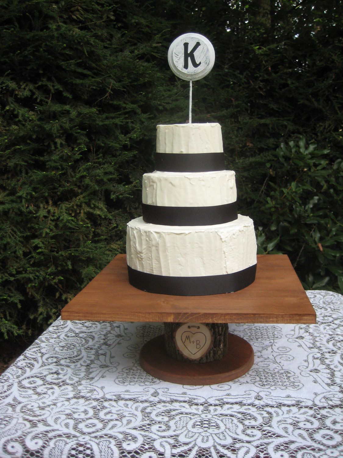 Rustic cake stand log cake stand square cake by yourdivineaffair
