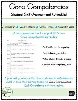 Core Competencies SelfAssessment Checklist To Support Bc  Core