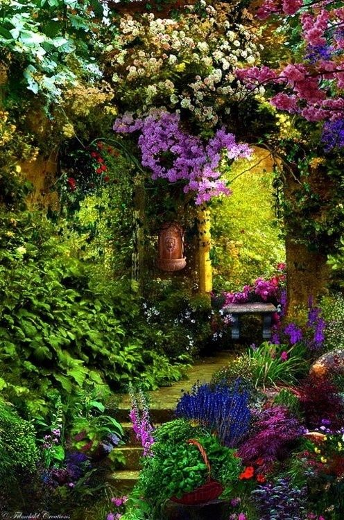 colorful flowered entryway