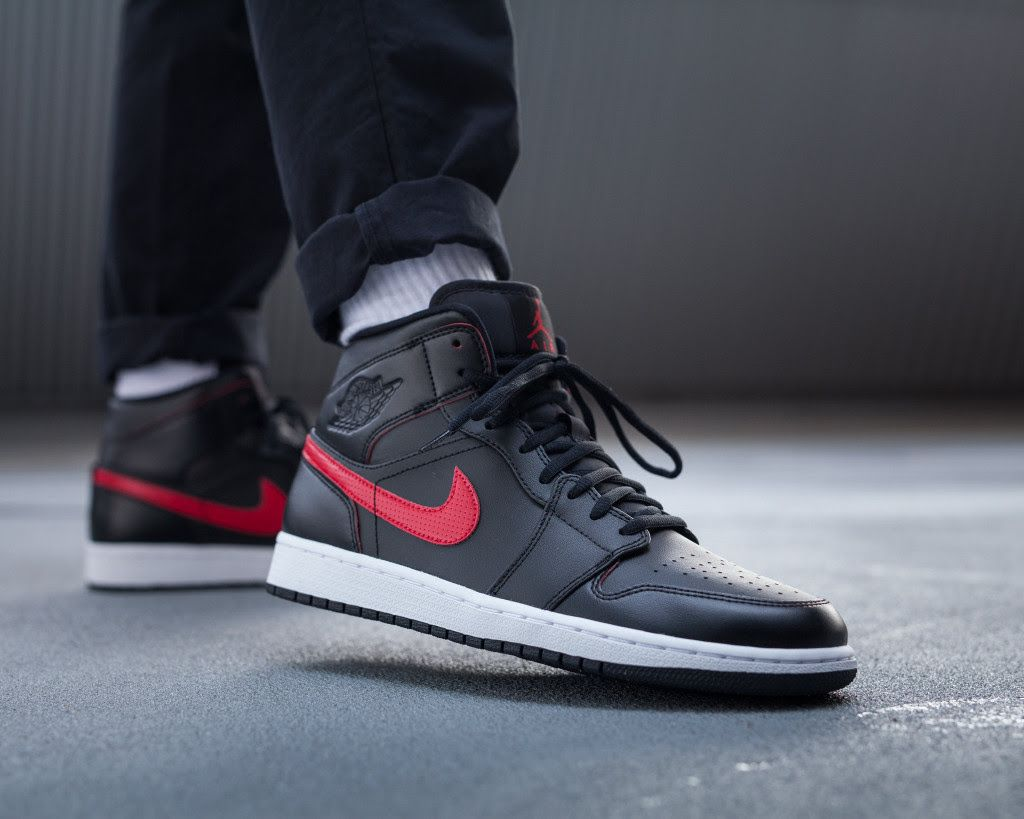 A New Black And Red Colorway Of The Air Jordan 1 Mid • KicksOnFire.com