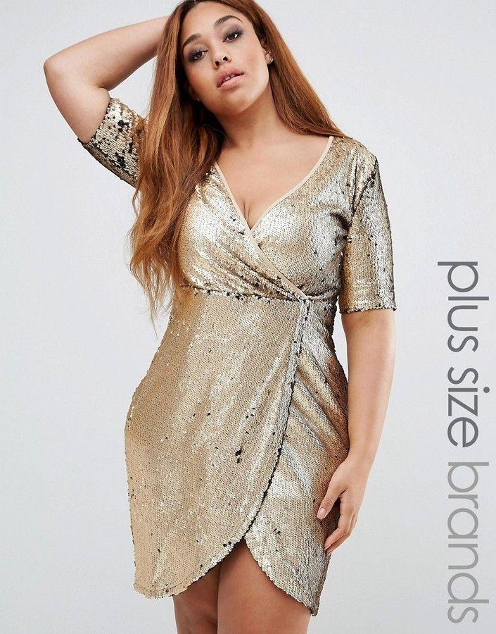 Plus Size Sequin Wrap Dress  4999bede2