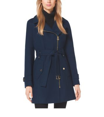 Created from wool-melton that's as sumptuous as it is lightweight, this hooded coat is a wardrobe must-have for transitional weather. An asymmetrical zipper adds a moto-inspired edge, while its large flap pockets give it a military-chic sensibility. Its dark neutral hue is ideal for day-to-night wear.