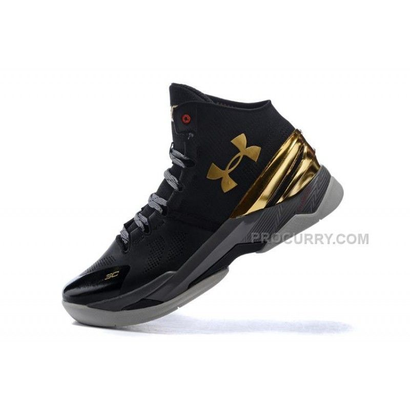 low priced 962c8 14817 Under Armour Curry 2 Black Chrome Gold Shoes For Sale Discount
