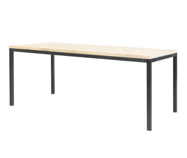 Esstisch aus Holz und Unterbau aus schwarzemweissem