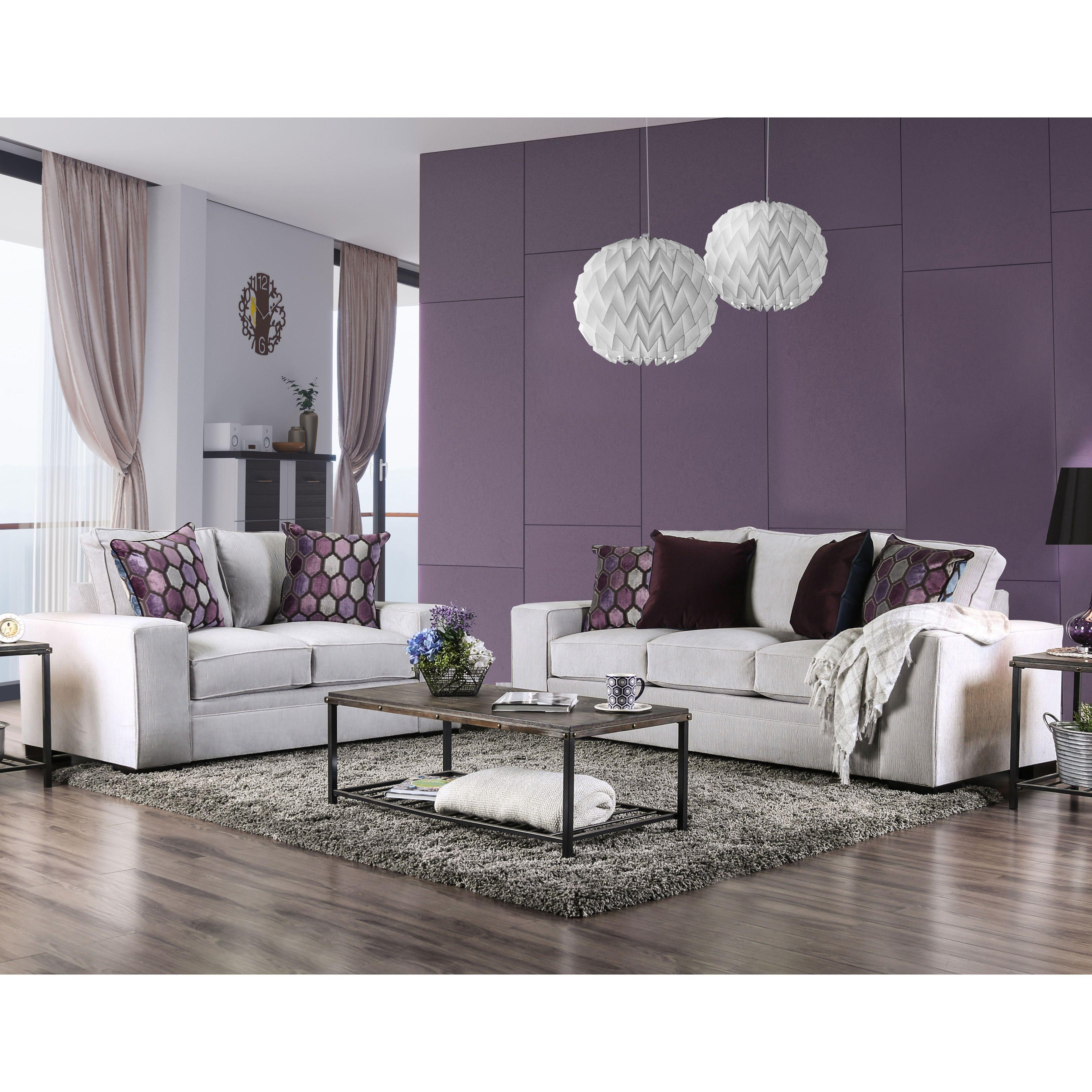 Fabulous Furniture Of America Lenael Contemporary 2 Piece Light Grey Alphanode Cool Chair Designs And Ideas Alphanodeonline