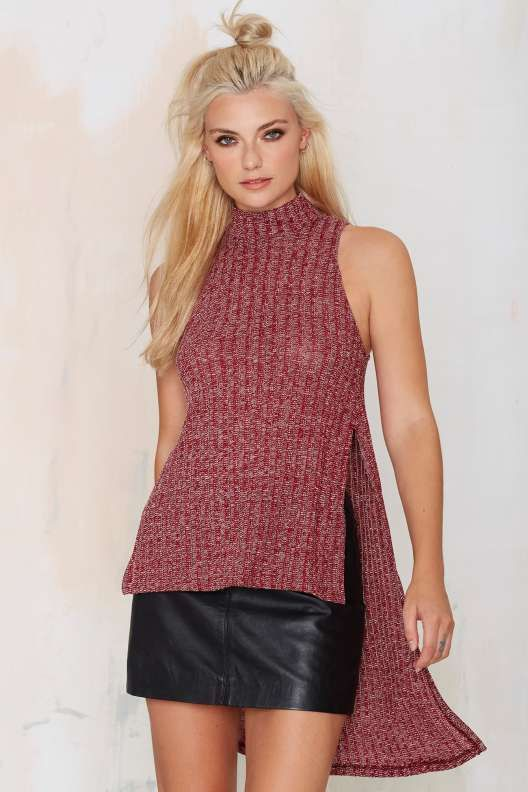 Joy Division Asymmetrical Sweater Top - Burgundy - What's New