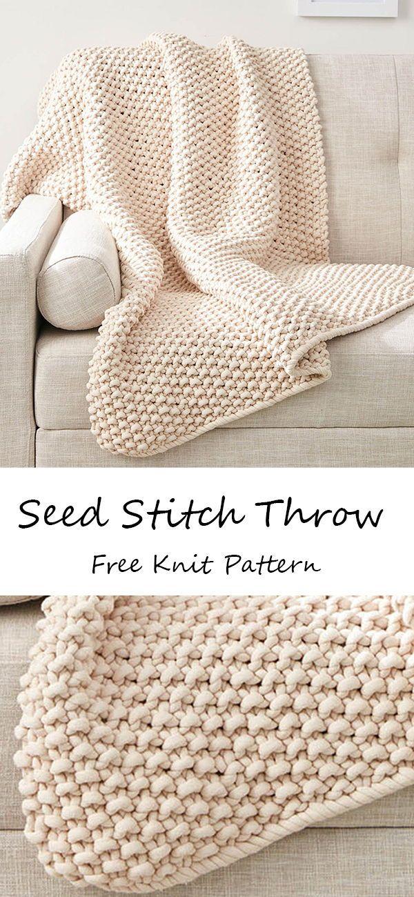Bernat Seed Stitch Throw Pattern | Yarnspirations