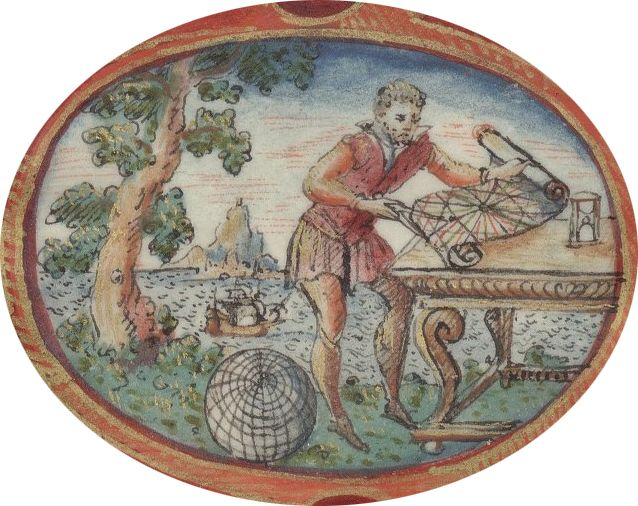 Usage du portulan - Figure 1. Hydrographe à l'ouvrage (Jacques de Vaulx, 1583, Les Premières œuvres, médaillon du frontispice, BnF)