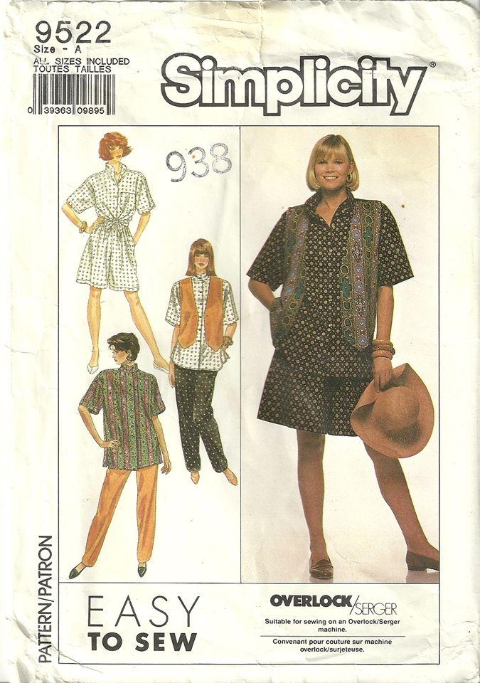 Classy Patterns - Simplicity 9522 Womens Pants Oversized Shirt ...