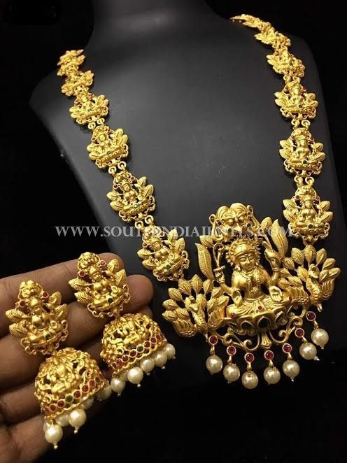 e60601f841 Gold plated matt finish goddess lakshm haram and matching jhumka. For  inquiries please contact the seller below. Seller Name : Kushal's Fashion  Jewellery ...