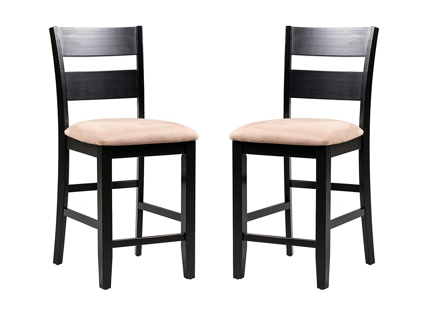 Trithi Furniture Fullerton Asian Solid Wood Black Counter Height With Upholstered Seat Chair Furniture Luxury Home Furniture Black Counters