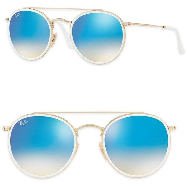 5cd555096a Ray-Ban 51mm Mirrored Round Double Bridge Sunglasses ( 185) ❤ liked on  Polyvore featuring accessories