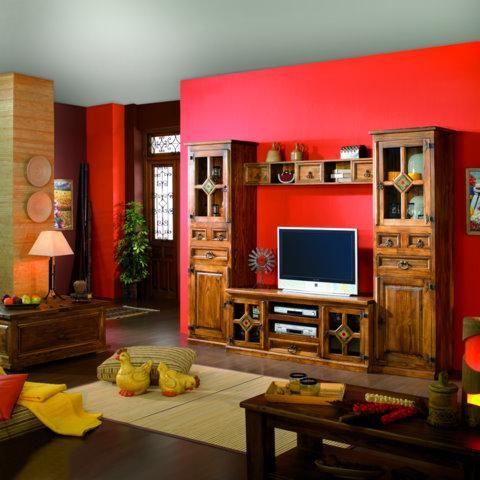 Modular en madera maciza con ceramica pintada a mano con girasol - muebles para cocina de madera