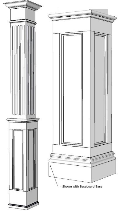 Mdf pillars square half fluted recessed panelled column for Interior support columns