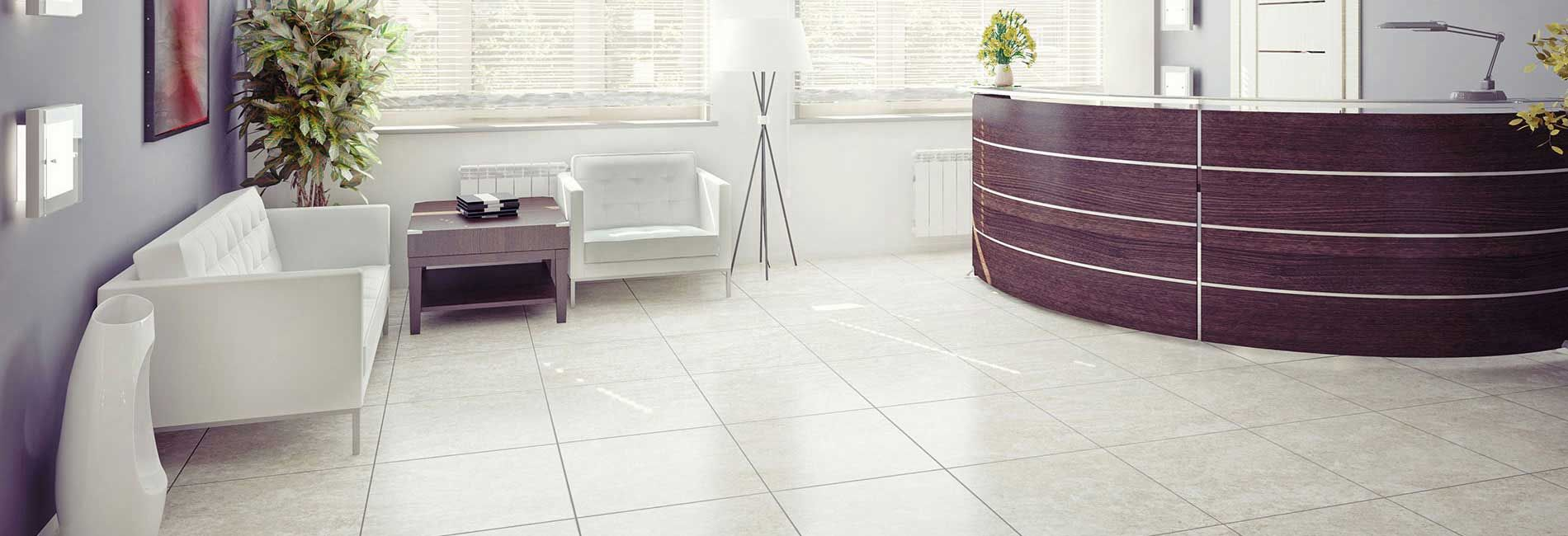 Office Reception with Ceramic Glazed Coloured Floor Tiles | Tiles ...
